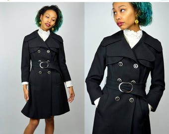 SALE Bridgit   XS Small   1970s Vintage Jacket Black Double Breasted Coat Wool 70s Belted Trenchcoat