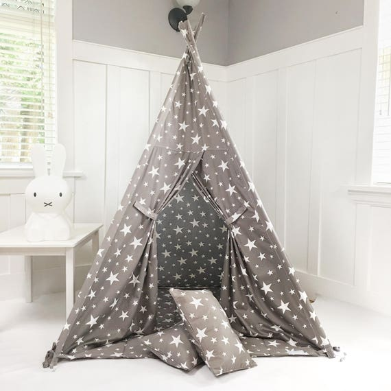 Kids Play Tent Teepee Handmade in Grey/Gray with White Stars Designer Cotton Fabric. Comes With Padded Mat Base AND Two Pillows!