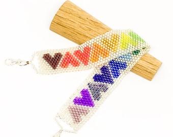 Rainbow heart beaded bracelet - dainty bracelet - sterling silver clasp - Boho bracelet