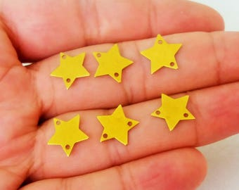 100 Pcs Raw Brass 12 mm Star Findings - Star Connector- Star Charms - 2 Hole