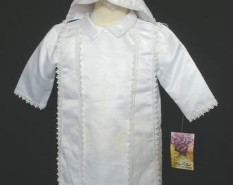 Baby Boy Toddler Christening Baptism 2pcs Gown+Hat White BK050705
