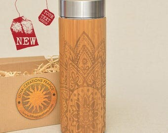 Customized Thermos Engraved Bamboo Wood HALF MANDALA Stainless Steel with Screw Lid