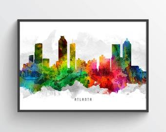Atlanta Skyline Poster, Atlanta Cityscape, Atlanta Print, Atlanta Art, Atlanta Decor, Home Decor, Gift Idea, USGAAT12P