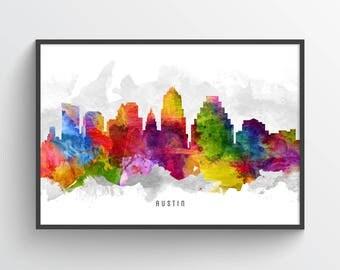 Austin Skyline Poster, Austin Cityscape, Austin Print, Austin Art, Austin Decor, Home Decor, Gift Idea, USTXAU13P