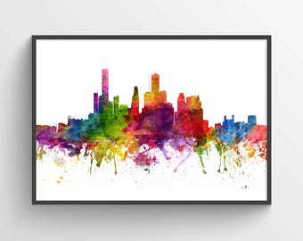 Houston Skyline Poster, Houston Cityscape, Houston Print, Houston Art, Houston Decor, Home Decor, Gift Idea, USTXHO06P
