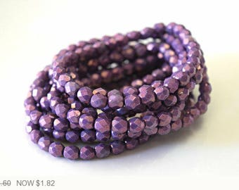 ON SALE Purple Czech Fire Polished Faceted Opaque Beads Purple Czech Glass Beads Opaque Round Beads Purple Round Opaque 6mm (25pcs) 133V3