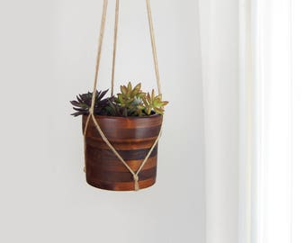 Vintage Wooden Hanging Planter | Dark Wood Bowl, Baribocraft | Succulent Plant Pot and Beige Raw Jute Hanger | Mid Century Modern Home Decor