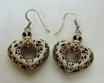 "Lovely Pair of Vintage Estate .925 Sterling Silver Dangle ""Heart"" Earrings 9.7g E2119"
