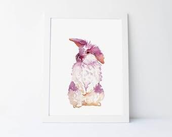 Watercolor Bunny, Rabbit Printable, Wall Art, Nursery Print, Original Art, Kids Room, Printable, Instant Download, Animals, Home Decor