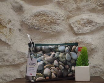 Vanity case in oilcloth mix stone, silver