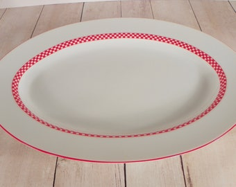 Fitz & and Floyd CHEQUERS Oval Serving Platter Fine Porcelain Japan Red Checkers