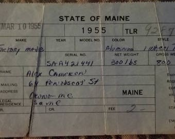 Maine 1955 Trailer Registration