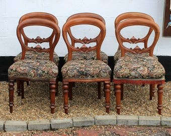 Set of Six Reproduction Antique Balloon Back Dining Chairs