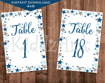 Table Number Signs   4x6   Twinkle Twinkle   Blue, Navy Silver   Baby Shower   Birthday   Printable   DIGITAL INSTANT DOWNLOAD