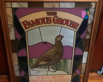 Large Stained Painted Glass Famous Grouse Whiskey hanging windows sign