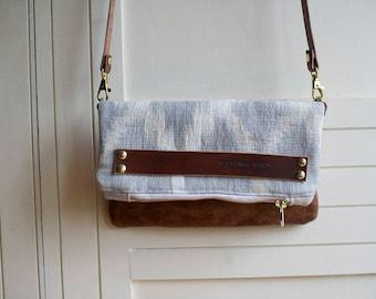 leather crossbody, leather clutch, ikat handbag, leather bag, leather handbag