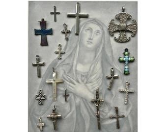 Vintage Crosses, Group of Crosses, Silver Tone Pendant, Religious, Cross Collection, Assorted Crosses, Lot of Crucifix, Vintage Crucifixes