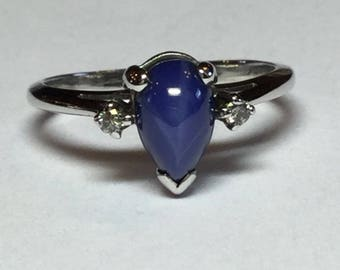 Vintage 14k White Gold Blue Star Sapphire And Diamond Ring Size 5