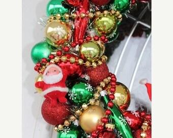 "30% OFF Sale 15"""" Christmas Ornament Wreath Glass Ornaments Santa Christmas Decoration"