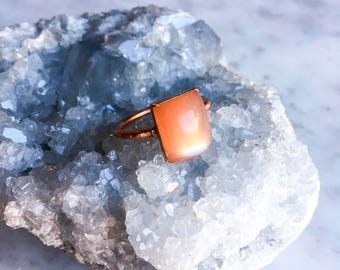 Peach Moonstone Ring Size 7 1/4