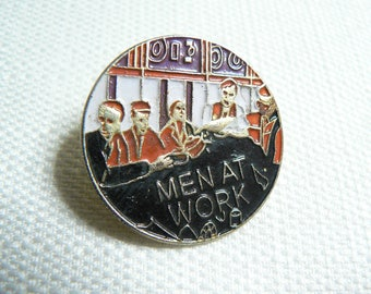 Vintage Early 80s Men At Work Enamel Pin / Button / Badge
