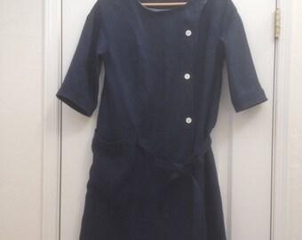 linen dress, coat dress, day dress, work dress, big pocket dress, half sleeve dress, tunic