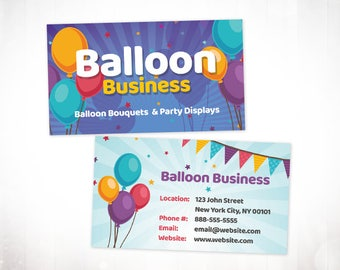 Premade Business Card Design • Balloon Party