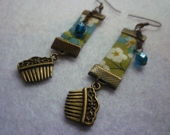 Earrings Combs floral Green