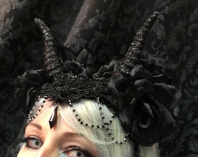 Handmade hat with hand molded small horns roses lace feathers and decorations big hat