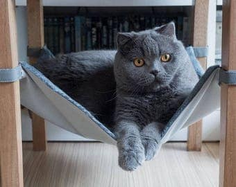Grass Green Cat Furry Hammock For Under Chairs