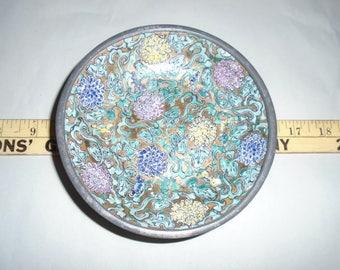 Japanese porcelain.  ACF. Pewter and porcelain dish.