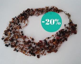Sale Tiger Eye Necklace Gemstone Chocolate Coffee Multistrand Air Boho bridal girlfriend gift Women her jewelry brown Beadwork Wedding