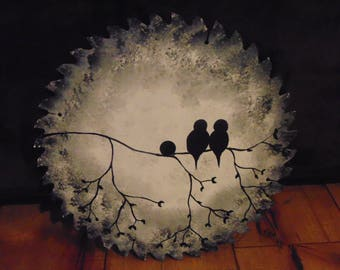 hand painted love birds on a round saw blade