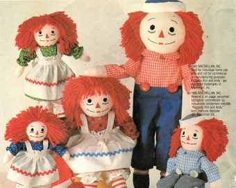 McCall's 2447 Raggedy Ann & Andy Dolls with Clothes and Transfer / 1986 UNCUT