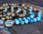 The Manifesting Strength Mala. Picture Jasper, Blue Apatite, Bronzite, Citrine guru bead 108 Japa Mala beads, Good energy mala, Root chakra