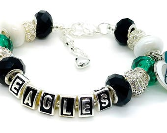Philadelphia Eagles inspired Jewelry bracelet