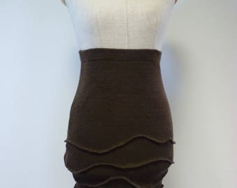 Sale, new price 55, original price 65. Handmade knitted brown linen short skirt, S size.