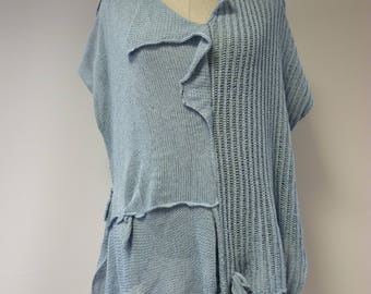 Special price, knitted light blue cotton blouse, XL size.