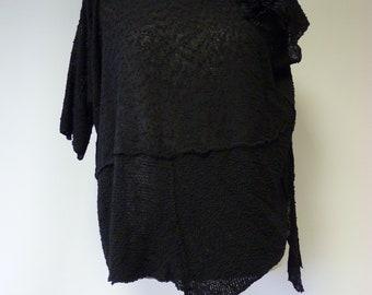 Special price, black boucle blouse, L size.