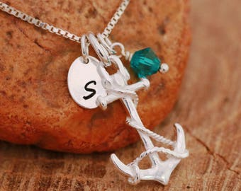 Sterling Silver Anchor Necklace, Silver Anchor Necklace, Silver Nautical Necklace, Birthstone Necklace, Initial Necklace, Gift for Her