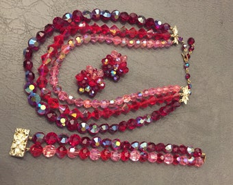 Vintage Red & Pink Aurora Borealis cut glass beaded jewelry set