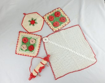 Lot of 3 Vintage Red & White Fancy Crocheted Pot Holders with Towel and Hanging Rack