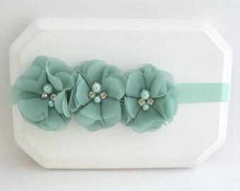 Mint Baby Headband - Mint Headband - Mint Hair Bow - Newborn Headband - Baby Girl Headband - Flower Girl Headband - Mint Cake Smash