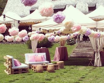 Pack of 35 pom poms (15/20) - Tissue paper pom poms set - Party Decorations - Wedding set - you choose colors!