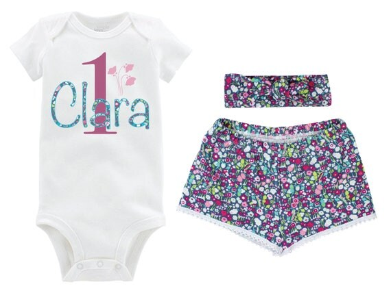 Personalized Girl Birthday Outfit Going Home Outfit Shorts Outfit Girl Summer Outfit Purple Floral Outfit Knot Headband Baby Shower Gift