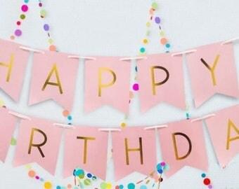 Happy Birthday  Banner- party Banner- birthday Banner