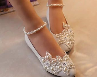 Pearly Flats Low Heel Wedding Shoes Flat Comfortable