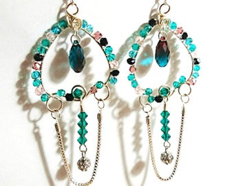 Sterling Silver Turquoise Colour Swarovski Crystal Chandelier Earrings