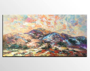 Canvas Oil Painting, Mountain Landscape Art, Contemporary Art, Abstract Art, Modern Art Painting, Living Room Wall Art,  Original Artwork