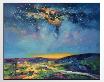 Oil Painting Landscape, Original Painting, Starry Night Sky Painting, Large Abstract Art, Canvas Wall Art, Heavy Texture Art, Impasto Art